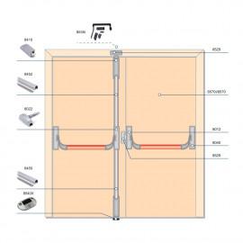 Комплект антипаники PANAMA для эвакуационного выхода: 2-створчатая дверь, 3 точки запирания